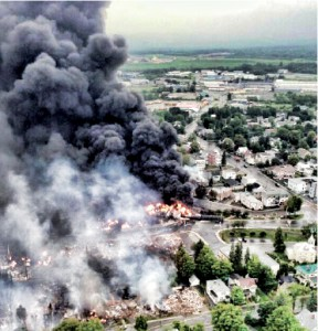 La tragédie de Lac-Mégantic. Photo: Wikipédia